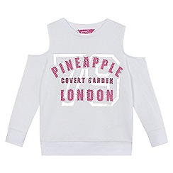 Pineapple - Girls white logo print cold shoulder sweater