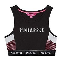Pineapple - Girls' black mesh panel crop top