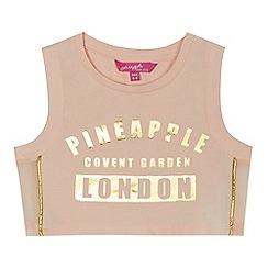 Pineapple - Girls' light pink foil-effect logo crop top