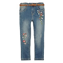 Mantaray - Girls' blue floral print skinny jeans