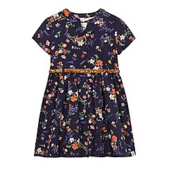 Mantaray - Girls' navy floral print belted dress