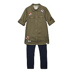 Mantaray - Girls' khaki butterfly embroidered shirt dress and navy leggings set