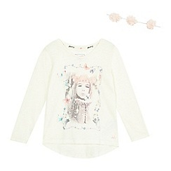 Mantaray - Girls' cream girl print and flower hairband set