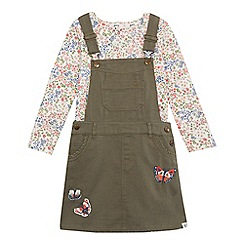 Mantaray - Girls' khaki butterfly appliqu  dungaree dress and floral print top set