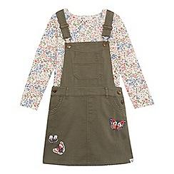 Mantaray - Girls' khaki butterfly appliqu  dungaree dress and floral print top set