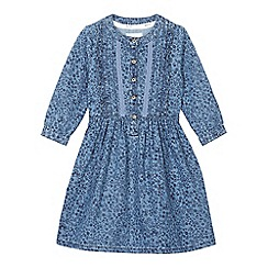 Mantaray - Girls' blue floral print chambray dress