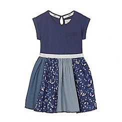 Mantaray - Girls' navy butterfly print panel dress