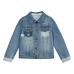 Mantaray - Girls' blue floral embroidered denim jacket