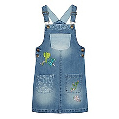 Mantaray - Girls' blue denim sequinned cactus pinafore