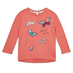 Mantaray - Girls' pink butterfly embroidered jumper