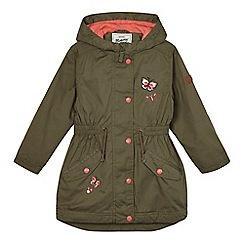 Mantaray - Girls' khaki butterfly embroidered parka coat