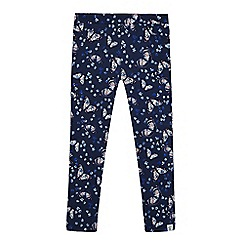 Mantaray - Girls' navy butterfly print leggings