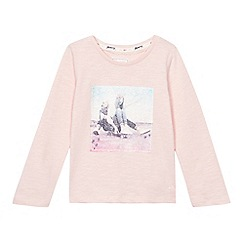 Mantaray - Girls' pink skateboard girl print long sleeve shirt