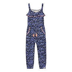 Mantaray - Girls blue floral print jumpsuit