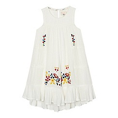 Mantaray - Girls' white flower embroidered dress