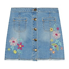 Mantaray - Girls blue denim embroidered skirt