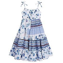 Mantaray - Girls' white and blue seashell print tiered dress