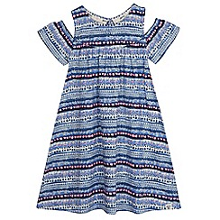 Mantaray - Girls' blue striped cold shoulder dress