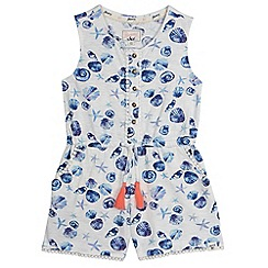 Mantaray - Girls' white and blue seashell print playsuit