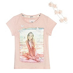 Mantaray - Girls' pink girl photo print t-shirt with a flower crown