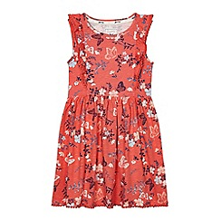 Mantaray - Girls' coral butterfly print dress