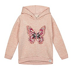 Mantaray - Girls' pink butterfly embroidered sweatshirt