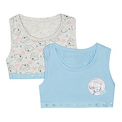 Tatty Teddy - Girls' pack of two blue and grey 'Me To You' print crop tops