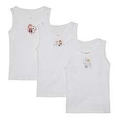 Disney Frozen - Girls' pack of three white 'Frozen' print vests