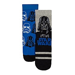 Star Wars - Pack of two boys' blue and black 'Star Wars' socks