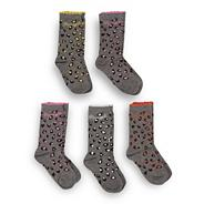 Pineapple girl's pack of five grey leopard socks