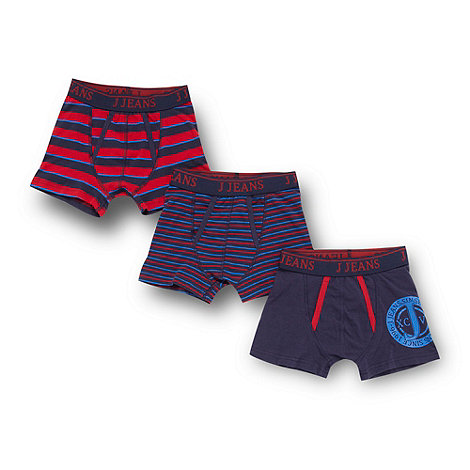 J by Jasper Conran - Designer boy+s pack of three red and blue striped trunks