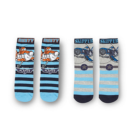 Disney Planes - Boy+s pack of two blue +Planes+ socks