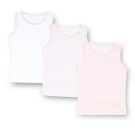 bluezoo - Girl+s pack of three pink striped spotted and star patterned vests