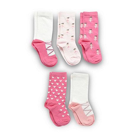 bluezoo - Pack of five girl+s pink ballet socks