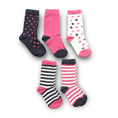 bluezoo - Pack of five girl+s pink spot and striped socks