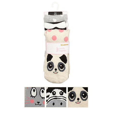 bluezoo - Girl+s pack of three white animal face tights