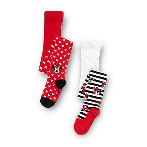 Minnie Mouse - Girl+s pack of two red and white +Minnie Mouse+ tights