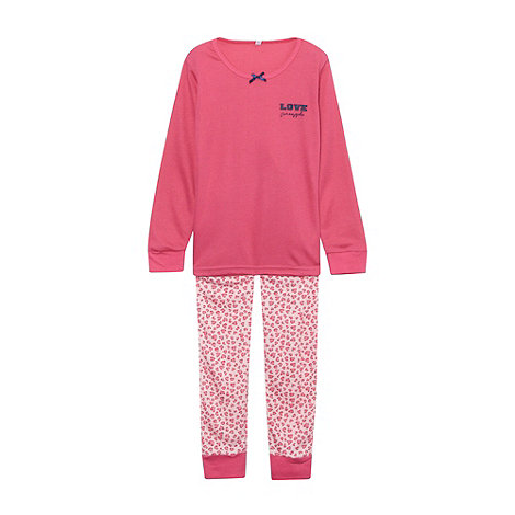 Pineapple - Girl+s pink animal thermal pyjama set