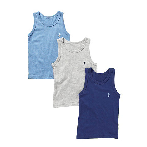 J by Jasper Conran - Designer boy+s pack of three navy grey and blue vests