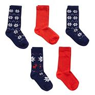Boy's pack of five navy fairisle sock pack