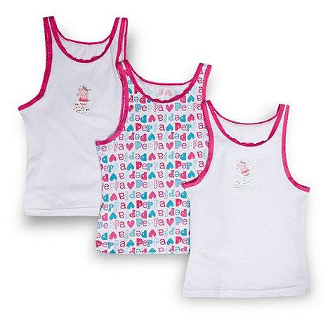 Peppa Pig - Girl+s pack of three white +Peppa Pig+ vests