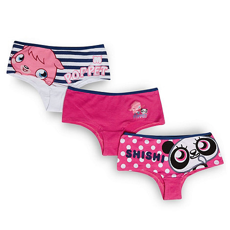 Moshi Monsters - Girl+s pack of three pink and navy +Moshi Monsters+ briefs