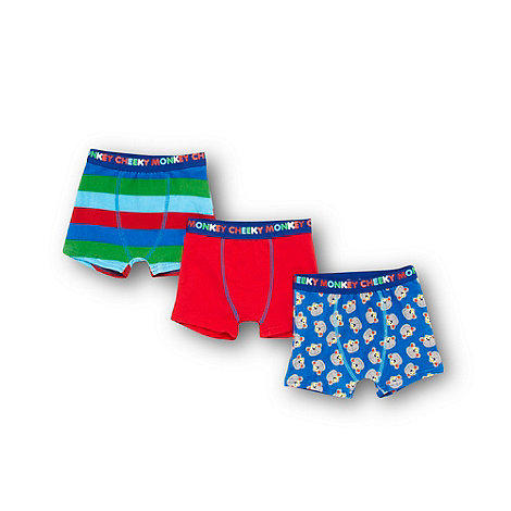 bluezoo - Boy+s pack of three blue +Cheeky Monkey+ printed trunks