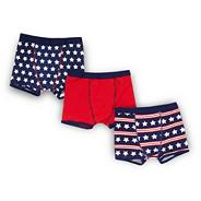 Boy's pack of three navy striped and star patterned trunks