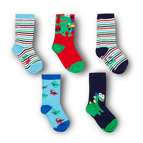 bluezoo - Boy+s pack of five blue dinosaur socks
