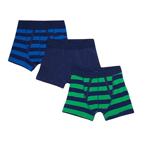 bluezoo - Boy+s pack of three navy plain and striped trunks