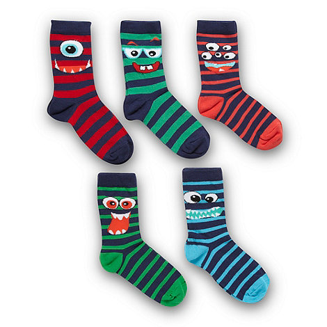 bluezoo - Boy+s pack of five navy striped monster socks