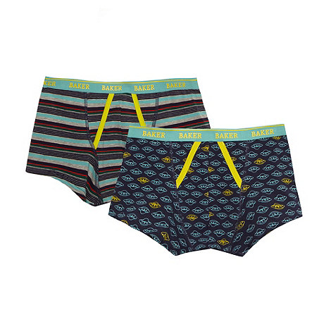 Baker by Ted Baker - Boy+s pack of two navy striped and spaceship printed trunks