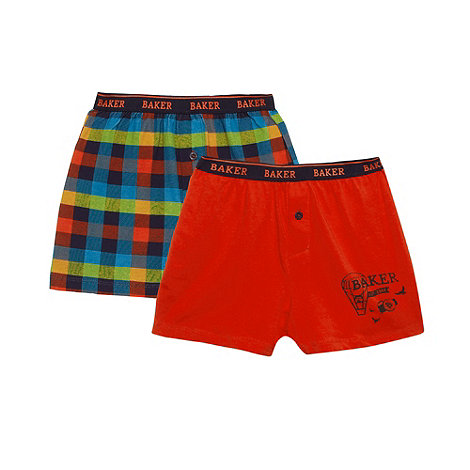Baker by Ted Baker - Boy+s pack of two navy checked and plain boxers