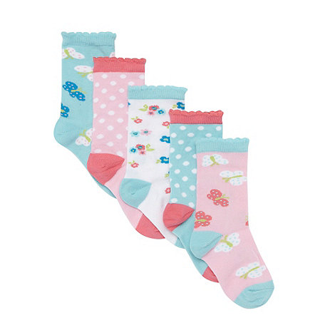 bluezoo - Pack of five girl+s pink butterfly spotted socks